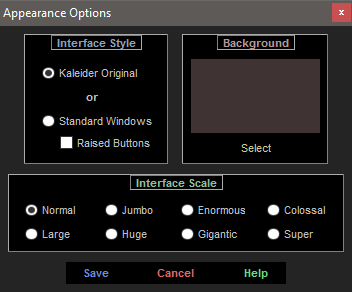 Appearance Options - Kaleider Original Interface Style