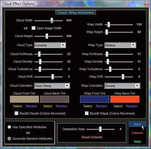 Cloud Effect Options Screen
