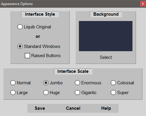 Appearance Options - Standard Windows Interface Style
