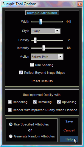 Rumple Tool Options Screen